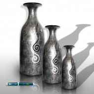 Gray silver vases with snails