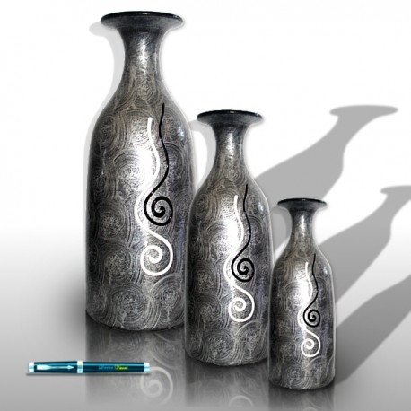 Trio of silvery vases with snails