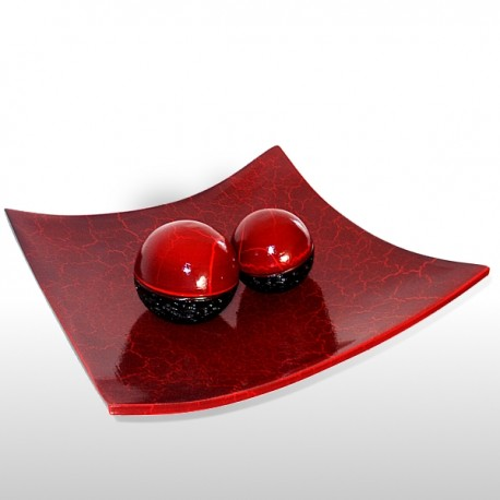Red crackle dish with balls