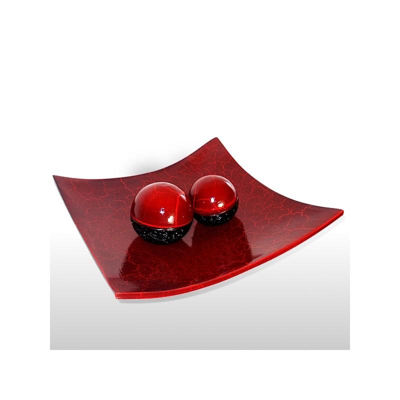 Plat rouge cracl avec boules decor vases - Arbuste avec boule rouge ...