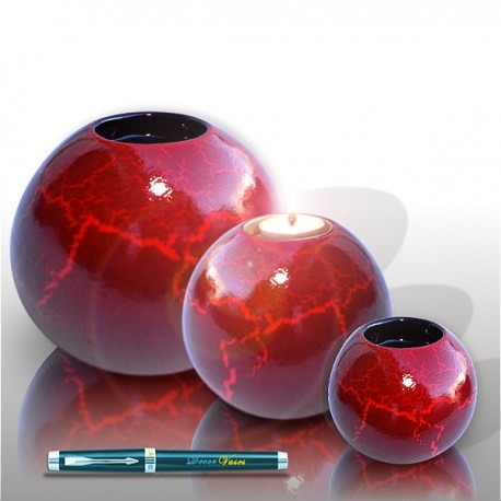 3 Candle holder balls with crackle painting