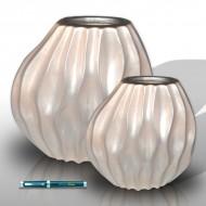 2 round white vases