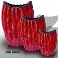 Trío de jarrones cóncavos en rojo Burdeos