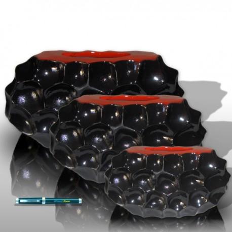 3 Jarres ovale noire diamant