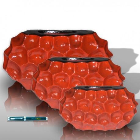 3 oval maroon vases