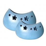 Weinlese -Vase oval mit Blumen
