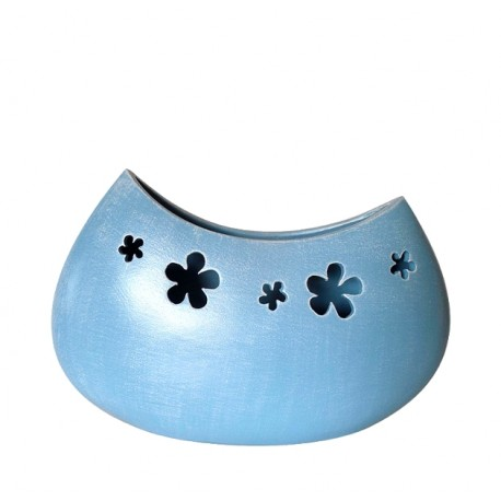 Oval vintage vase with flowers