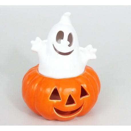 zucca Halloween con fantasma