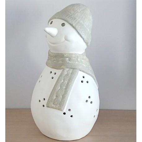 Boneco de neve porta-velas